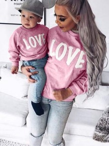 Pink Letter Print Round Neck Long Sleeve Going out Sweatshirt