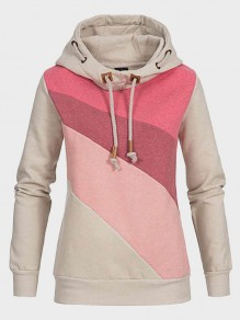 Red Patchwork Pockets Drawstring Hooded Long Sleeve Casual Sweatshirt