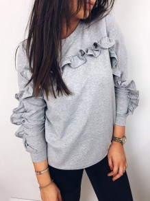 Grey Ruffle Long Sleeve Casual Sweet Going out Sweatshirt