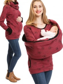 Wine Red Flowers Print Pockets Round Neck Long Sleeve Casual Maternity Sweatshirt