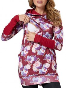 Red Floral Print Hooded Long Sleeve Casual Maternity Sweatshirt