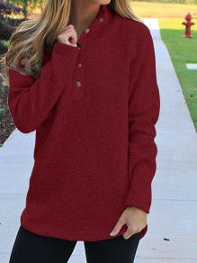 Wine Red Studded High Neck Long Sleeve Fashion Pullover Sweatshirt