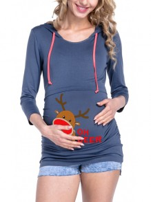 Blue Floral Drawstring Hooded Long Sleeve Casual Christmas Maternity Sweatshirt
