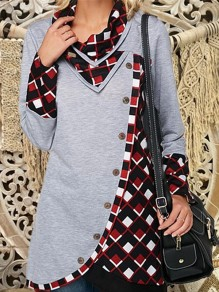 Grey Patchwork Buttons Cut Out V-neck Long Sleeve Fashion Pullover Sweatshirt