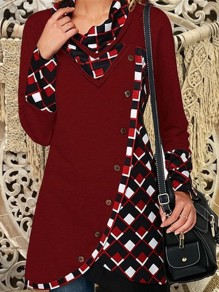Red Patchwork Buttons Cut Out V-neck Long Sleeve Fashion Pullover Sweatshirt