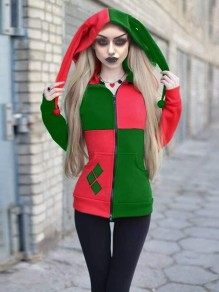 Red-Green Patchwork Pockets Harley Quinn Cosplay Cardigan Casual Hooded Sweatshirt