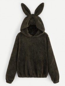 Black Rabbit Ears Fuzzy Fur Tedd Popcorn Long Sleeve Hooded Casual Sweatshirt