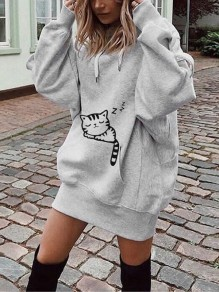 Grey Cat Print Pockets Drawstring Hooded Long Sleeve Casual Sweatshirt