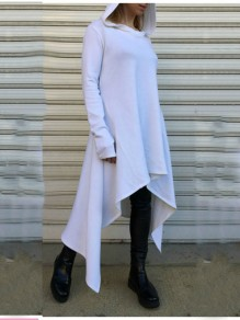 White Pleated High-Low Hooded Rosatic Witch Long Sleeve Casual Sweatshirt