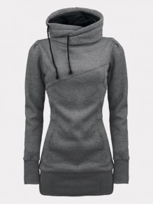 Grey Pockets Drawstring Hooded Long Sleeve Fashion Sweatshirt