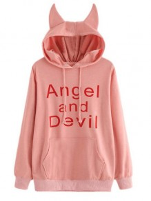 Pink Angel And Devil Pattern Pockets Unicorn Ears Hooded Casual Pullover Sweatshirt