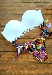 White Floral Drawstring Bandeau Ruffle 2-in-1 V-neck Swimwear