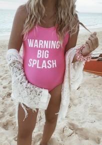 Costumi da bagno monogramma stampa spalla tracolla un pezzo bodycon maternità beachwear carino rosa