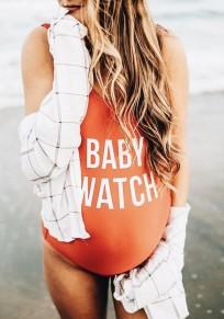 Costumi da bagno monogrammama stampa tracolla un pezzo beachwear maternità senza schienale bodyless arancione
