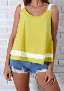 Yellow Lace Ruffle Shoulder-Strap V-neck Casual Going out Vest