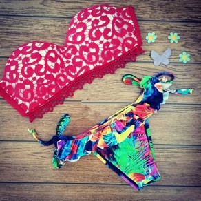 Red Floral Print Lace Two Piece Off Shoulder Backless Fashion Swimwear