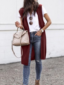 Wine Red V-neck Long Knit Oversize Casual Cardigans Sweater