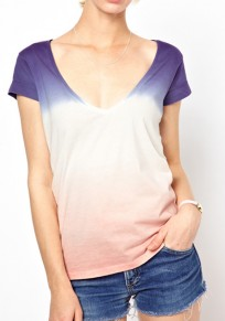 Blue-Pink Patchwork Plunging Neckline Wrap Cotton T-Shirt