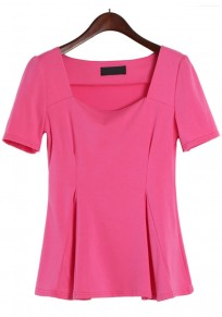 Pink Plain Wrap Short Sleeve T-Shirt