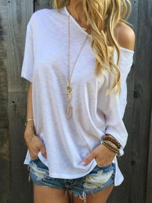 White Plain Irregular Short Sleeve Fashion T-Shirt