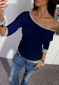 Dark Blue Plain Irregular Round Neck Long Sleeve Casual T-Shirt