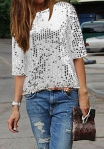 White Plain Sequin Round Neck Short Sleeve Fashion T-Shirt
