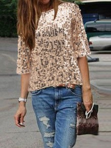 Golden Patchwork Sequin Round Neck Elbow Sleeve T-Shirt