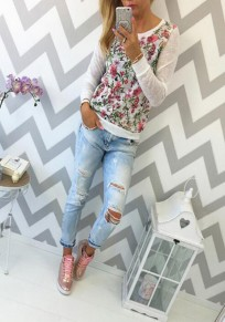 White Floral Print Round Neck Long Sleeve Casual T-Shirt