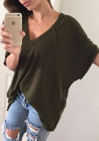 Army Green Plain Irregular V-neck Short Sleeve T-Shirt