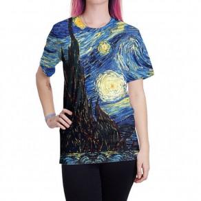 Maglietta van gogh stampa notte stellata girocollo casuale colorato blu
