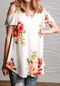 Maglietta stampa floreale tagliato fuori-spalla v-collo manica corta casuale bianco