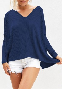 Blue Plain Irregular Long Sleeve Fashion Loose T-Shirt