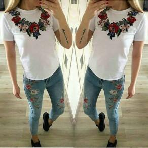 Maglietta ricami A fiori collo scollo manica corta sottile bianco