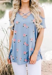 Maglietta floreale spalla tagliata fuori dal v-collo maniche corte blu