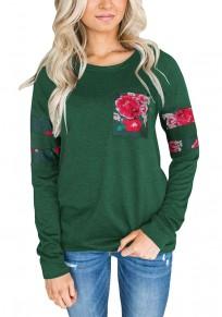 Maglietta stampare floreale collo rotondo manica lunga casuale verde