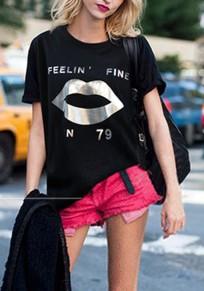 Maglietta stampare monogramma collo rotondo manica corta moda nero