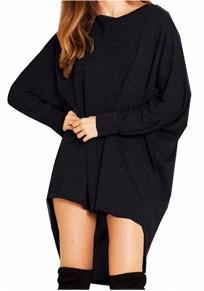 Maglietta irregolare alto-basso girocollo manica lunga nera