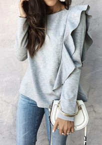 Grey Plain Ruffle Asymmetric Shoulder Round Neck Casual T-Shirt