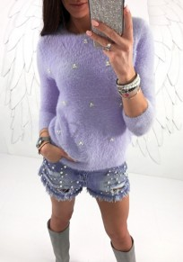Purple Beading Long Sleeve Round Neck Fashion T-Shirt