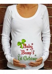 Maglietta stampa monogramma natalizio manica lunga girocollo maternità casuale bianca