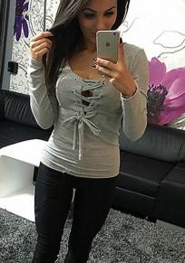 Maglietta semplice con coulisse scollatura profonda manica lunga grigio