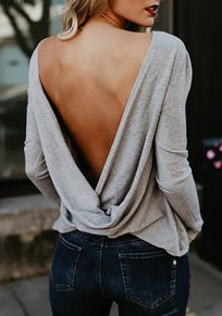 Grey Plain Cross Back Round Neck Long Sleeve Fashion T-Shirt