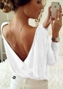 White Cut Out Back V-neck Long Sleeve T-Shirt