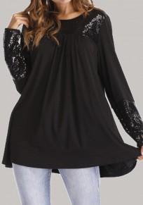 Maglietta paillettes plissettate taglia più manica lunga casuale sciolto nero