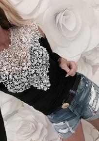 Maglietta pizzo tagliato girocollo moda nero