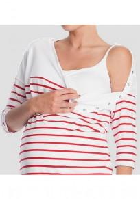 Maglietta donne A strisce maternità E lattanti casualei uscire bianco-rosso
