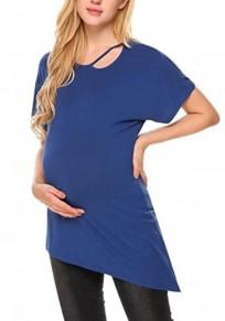 Maglietta maternità irregolare E donne in allattamento casualei che escono blu