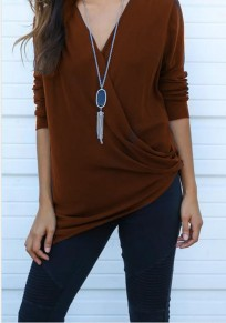 Coffee Cross Irregular Ruffle V-neck Long Sleeve T-Shirt