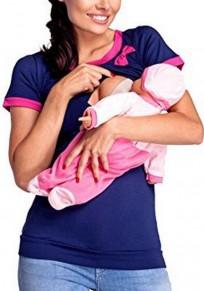 Maglietta colore colore blocco maternity E lactante farfallino donna casuale blu