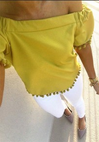 Yellow Patchwork Fur Ball Pleated Off Shoulder Backless Fashion T-Shirt